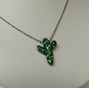 Crystal Cactus stainless steel pendant necklace